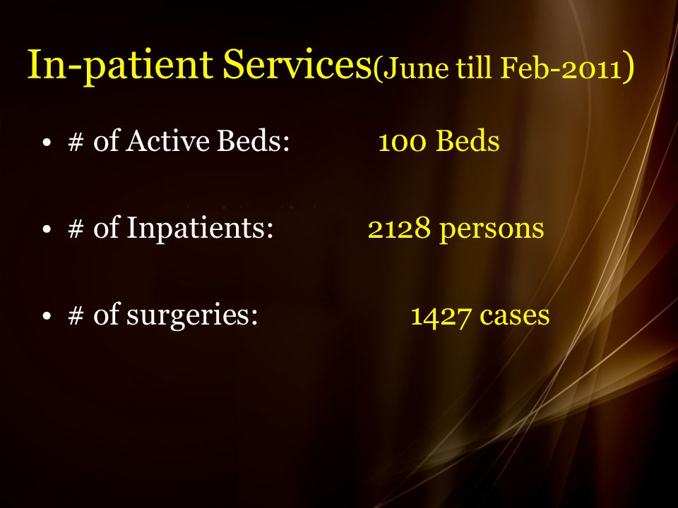 In-patient Services (June till Feb-2011 ) # of Active Beds: 100 Beds # of Inpatients: 2128 persons # of surgeries: 1427 cases