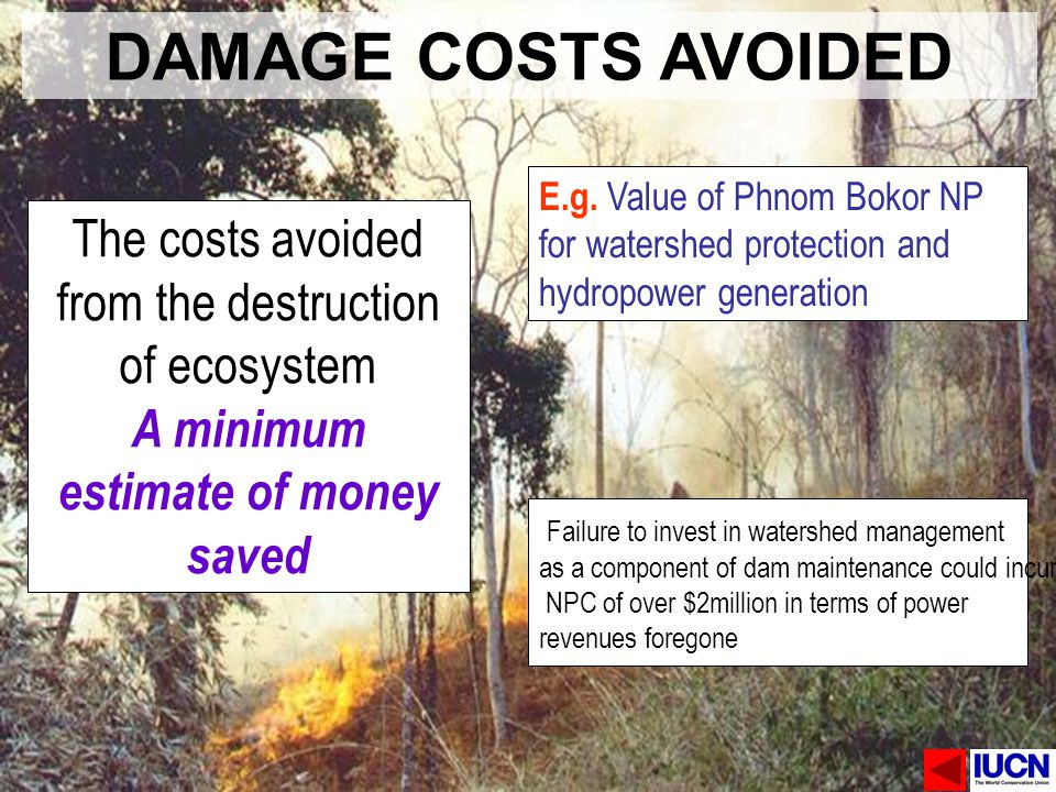 DAMAGE COSTS AVOIDED The costs avoided from the destruction of ecosystem A minimum estimate of money saved E.g. Value of Phnom Bokor NP for watershed