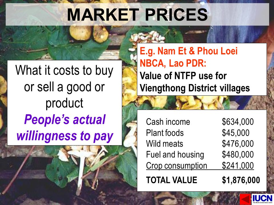 MARKET PRICES What it costs to buy or sell a good or product Peoples actual willingness to pay E.g. Nam Et & Phou Loei NBCA, Lao PDR: Value of NTFP us