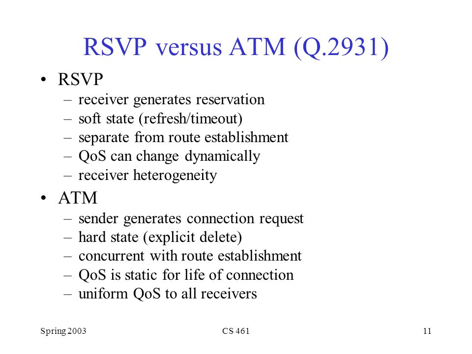 Spring 2003CS 46111 RSVP versus ATM (Q.2931) RSVP –receiver generates reservation –soft state (refresh/timeout) –separate from route establishment –QoS can change dynamically –receiver heterogeneity ATM –sender generates connection request –hard state (explicit delete) –concurrent with route establishment –QoS is static for life of connection –uniform QoS to all receivers
