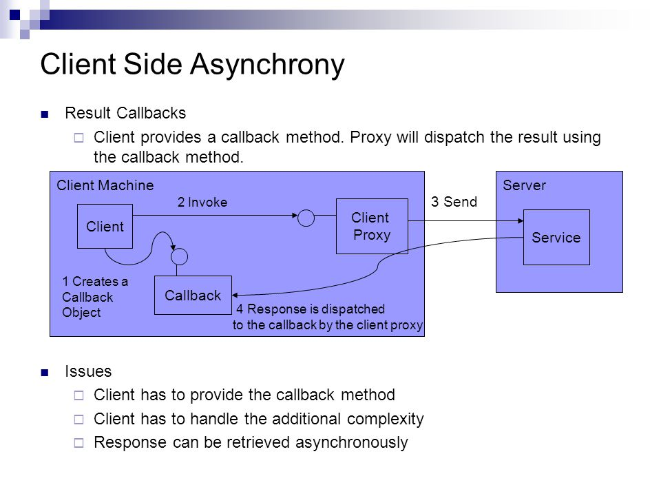 Client Side Asynchrony Result Callbacks Client provides a callback method.