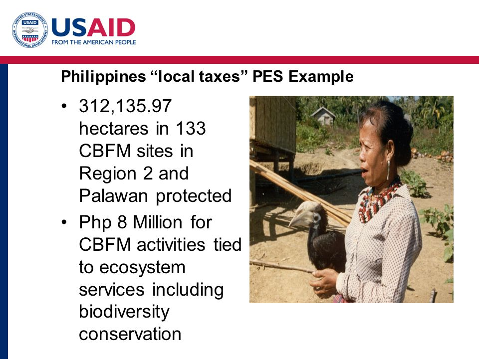 Philippines local taxes PES Example 312,135.97 hectares in 133 CBFM sites in Region 2 and Palawan protected Php 8 Million for CBFM activities tied to ecosystem services including biodiversity conservation