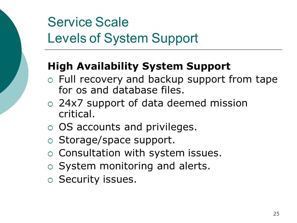 25 Service Scale Levels of System Support High Availability System Support Full recovery and backup support from tape for os and database files. 24x7