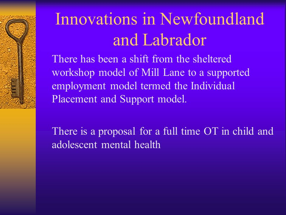 Innovations in Newfoundland and Labrador There has been a shift from the sheltered workshop model of Mill Lane to a supported employment model termed the Individual Placement and Support model.