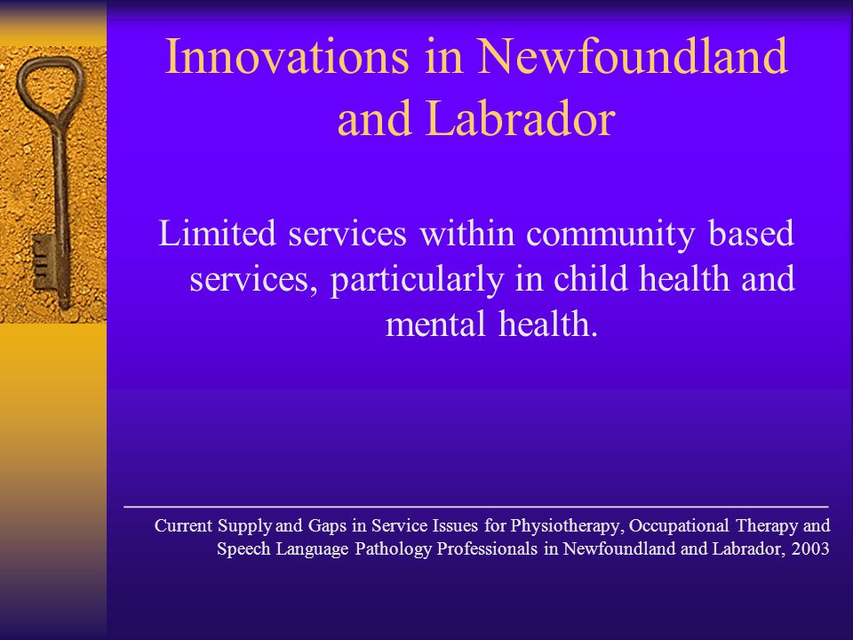 Innovations in Newfoundland and Labrador Limited services within community based services, particularly in child health and mental health.