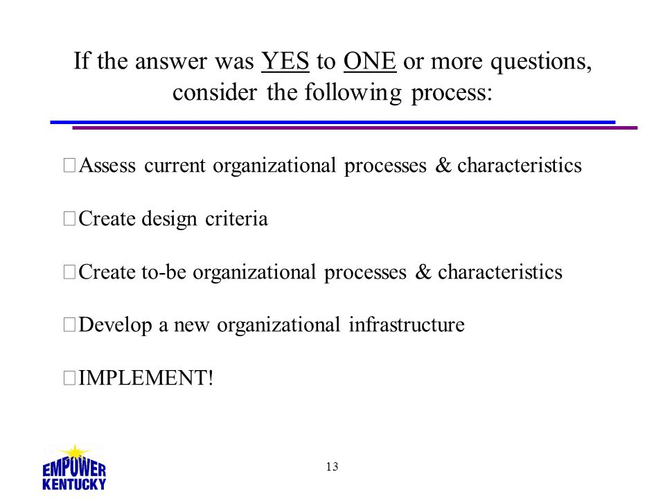 13 If the answer was YES to ONE or more questions, consider the following process: Assess current organizational processes & characteristics Create de