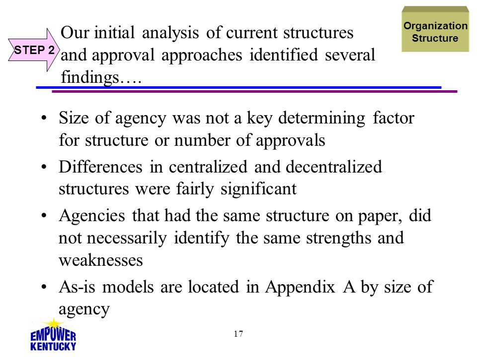 17 Our initial analysis of current structures and approval approaches identified several findings…. Size of agency was not a key determining factor fo