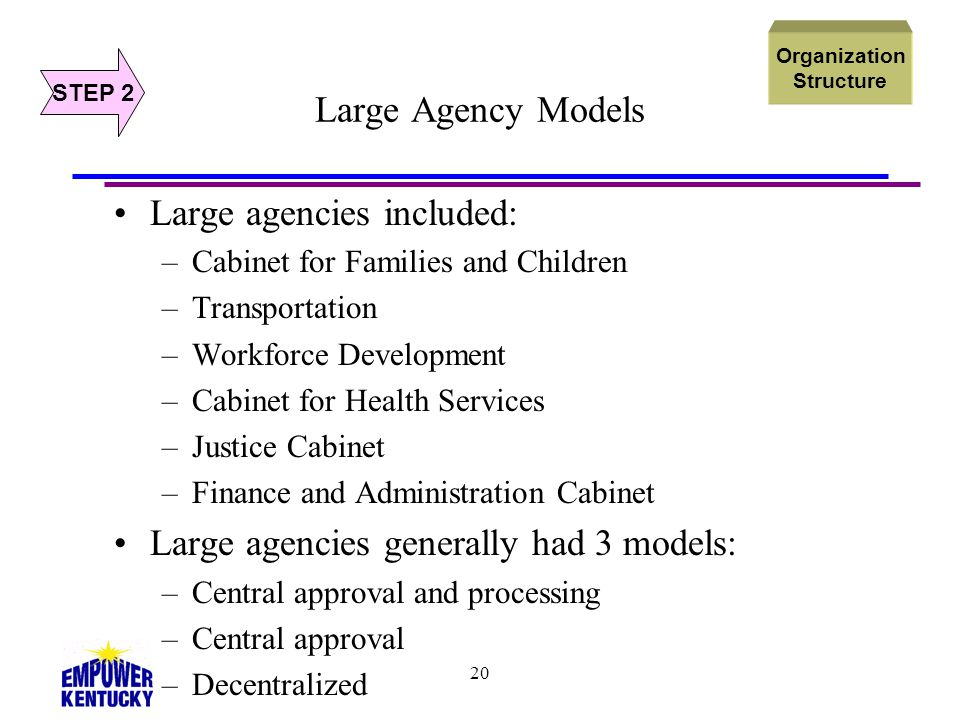 20 Large Agency Models Large agencies included: –Cabinet for Families and Children –Transportation –Workforce Development –Cabinet for Health Services