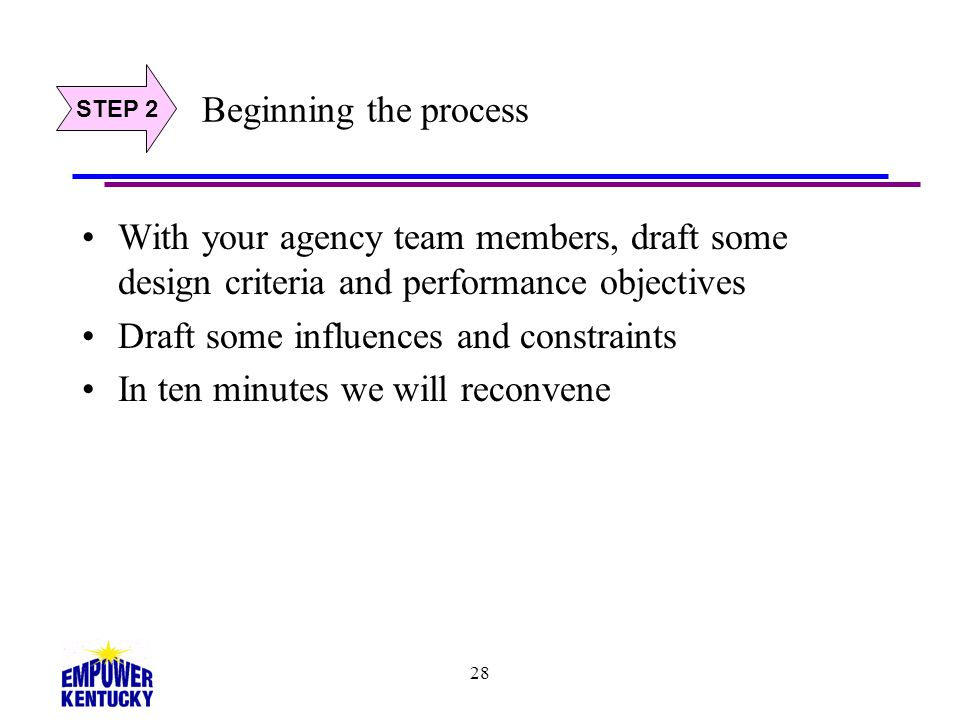 28 Beginning the process With your agency team members, draft some design criteria and performance objectives Draft some influences and constraints In