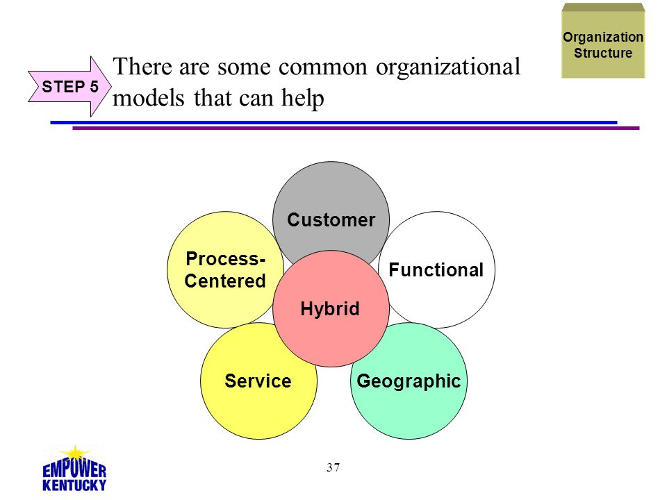 37 There are some common organizational models that can help STEP 5 Organization Structure Process- Centered Customer Functional GeographicService Hyb