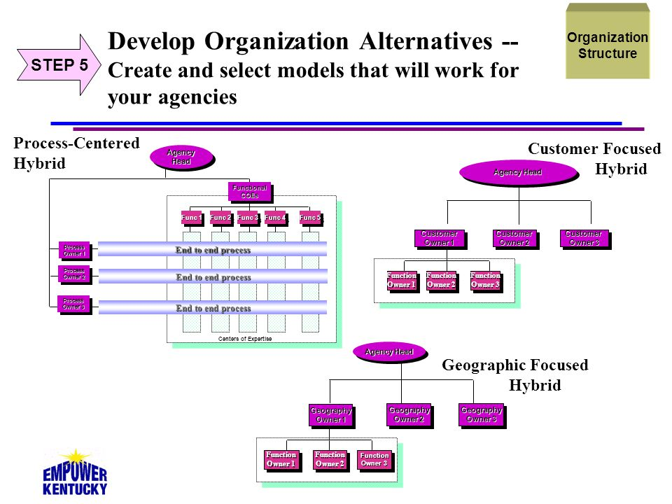 39 Develop Organization Alternatives -- Create and select models that will work for your agencies AgencyHeadAgencyHead FunctionalCOEsFunctionalCOEs Pr