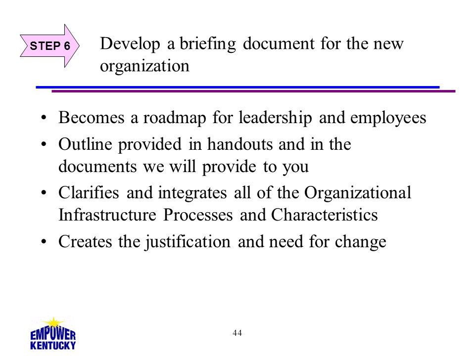 44 Develop a briefing document for the new organization Becomes a roadmap for leadership and employees Outline provided in handouts and in the documen