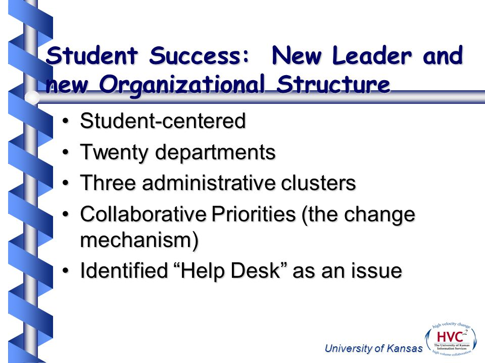 University of Kansas Student Success: New Leader and new Organizational Structure Student-centeredStudent-centered Twenty departmentsTwenty departments Three administrative clustersThree administrative clusters Collaborative Priorities (the change mechanism)Collaborative Priorities (the change mechanism) Identified Help Desk as an issueIdentified Help Desk as an issue