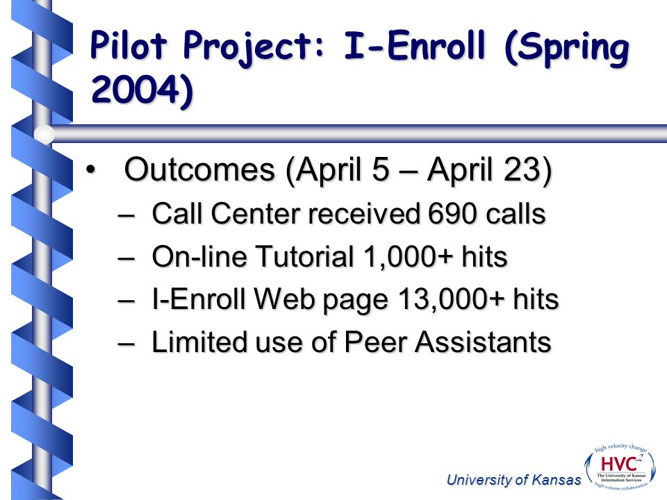 University of Kansas Pilot Project: I-Enroll (Spring 2004) Outcomes (April 5 – April 23)Outcomes (April 5 – April 23) –Call Center received 690 calls –On-line Tutorial 1,000+ hits –I-Enroll Web page 13,000+ hits –Limited use of Peer Assistants