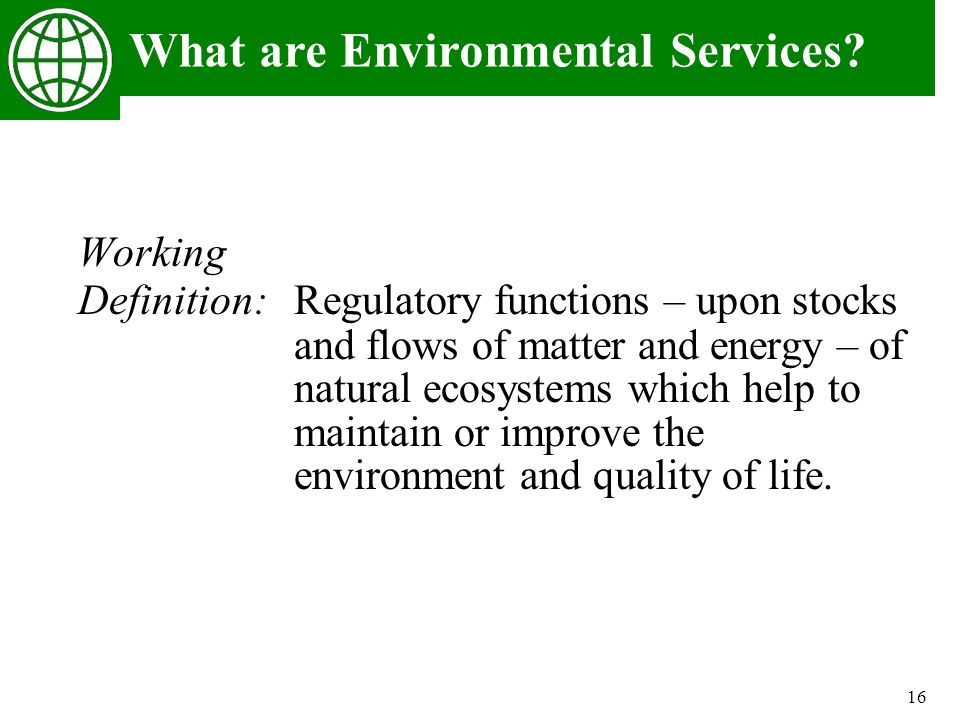 16 What are Environmental Services? Working Definition: Regulatory functions – upon stocks and flows of matter and energy – of natural ecosystems whic
