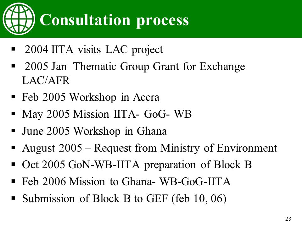 23 Consultation process 2004 IITA visits LAC project 2005 Jan Thematic Group Grant for Exchange LAC/AFR Feb 2005 Workshop in Accra May 2005 Mission IITA- GoG- WB June 2005 Workshop in Ghana August 2005 – Request from Ministry of Environment Oct 2005 GoN-WB-IITA preparation of Block B Feb 2006 Mission to Ghana- WB-GoG-IITA Submission of Block B to GEF (feb 10, 06)
