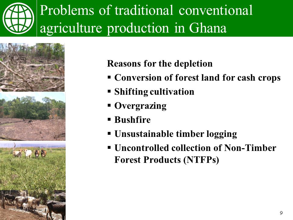 9 Problems of traditional conventional agriculture production in Ghana Reasons for the depletion Conversion of forest land for cash crops Shifting cultivation Overgrazing Bushfire Unsustainable timber logging Uncontrolled collection of Non-Timber Forest Products (NTFPs)