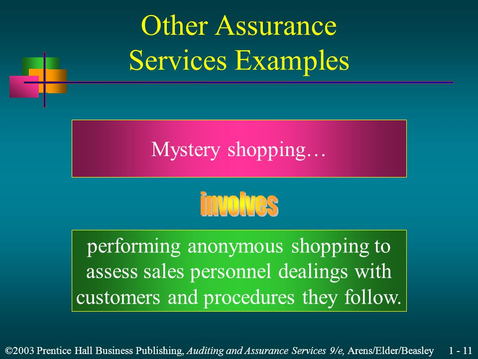 ©2003 Prentice Hall Business Publishing, Auditing and Assurance Services 9/e, Arens/Elder/Beasley 1 - 11 Other Assurance Services Examples Mystery shopping… performing anonymous shopping to assess sales personnel dealings with customers and procedures they follow.