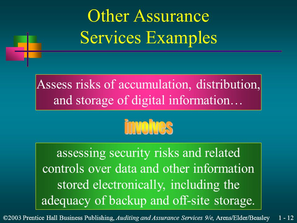 ©2003 Prentice Hall Business Publishing, Auditing and Assurance Services 9/e, Arens/Elder/Beasley 1 - 12 Other Assurance Services Examples Assess risks of accumulation, distribution, and storage of digital information… assessing security risks and related controls over data and other information stored electronically, including the adequacy of backup and off-site storage.