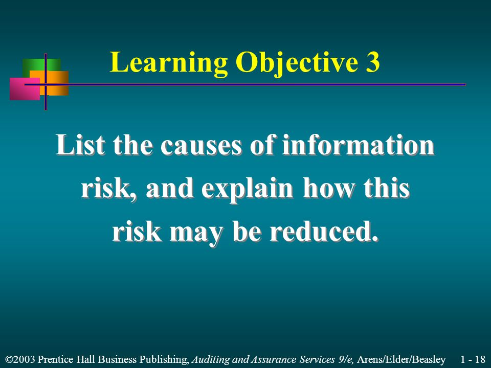 ©2003 Prentice Hall Business Publishing, Auditing and Assurance Services 9/e, Arens/Elder/Beasley Learning Objective 3 List the causes of information risk, and explain how this risk may be reduced.