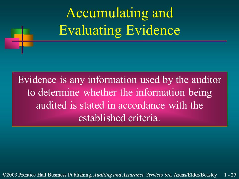 ©2003 Prentice Hall Business Publishing, Auditing and Assurance Services 9/e, Arens/Elder/Beasley 1 - 25 Accumulating and Evaluating Evidence Evidence is any information used by the auditor to determine whether the information being audited is stated in accordance with the established criteria.