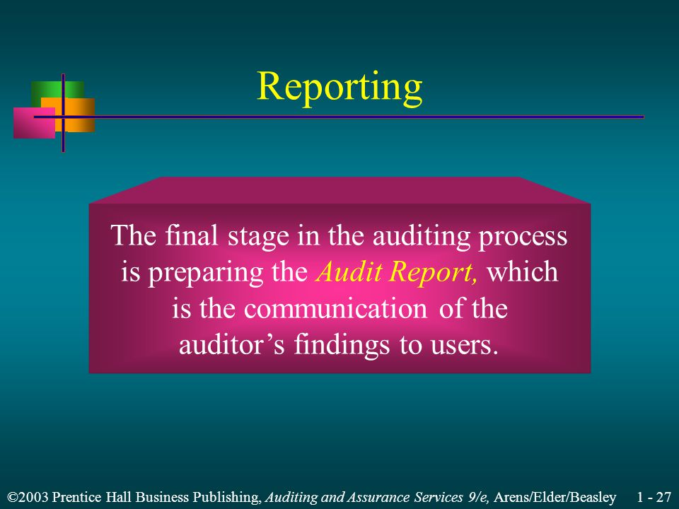 ©2003 Prentice Hall Business Publishing, Auditing and Assurance Services 9/e, Arens/Elder/Beasley 1 - 27 Reporting The final stage in the auditing process is preparing the Audit Report, which is the communication of the auditors findings to users.