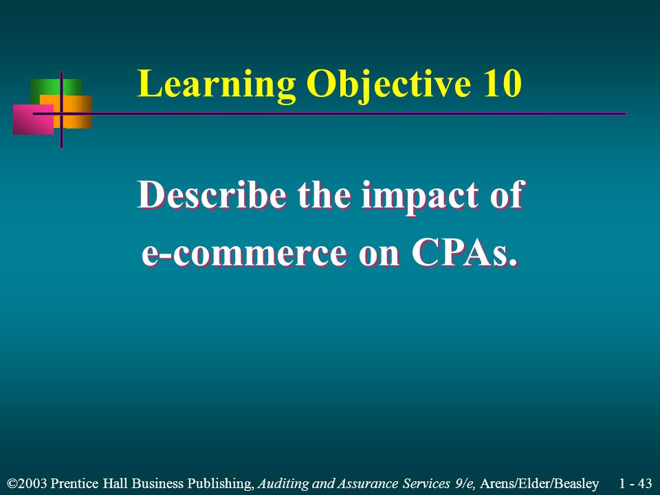 ©2003 Prentice Hall Business Publishing, Auditing and Assurance Services 9/e, Arens/Elder/Beasley 1 - 43 Learning Objective 10 Describe the impact of