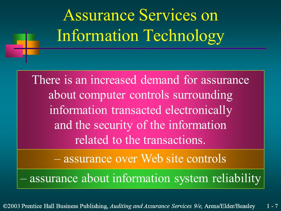 ©2003 Prentice Hall Business Publishing, Auditing and Assurance Services 9/e, Arens/Elder/Beasley 1 - 7 Assurance Services on Information Technology There is an increased demand for assurance about computer controls surrounding information transacted electronically and the security of the information related to the transactions.