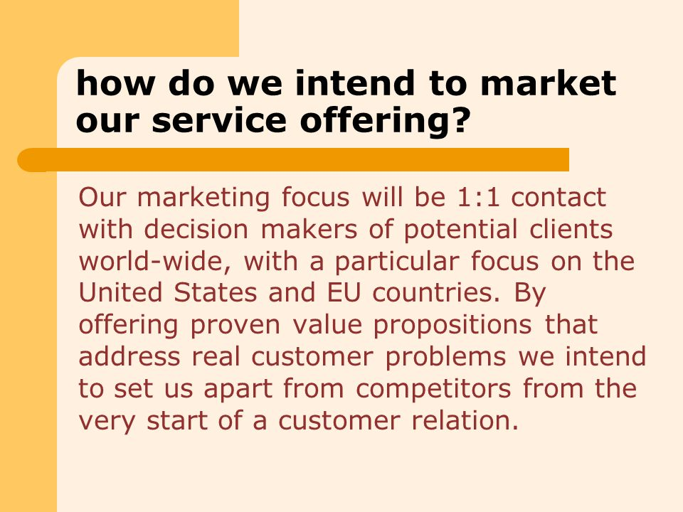 how do we intend to market our service offering.