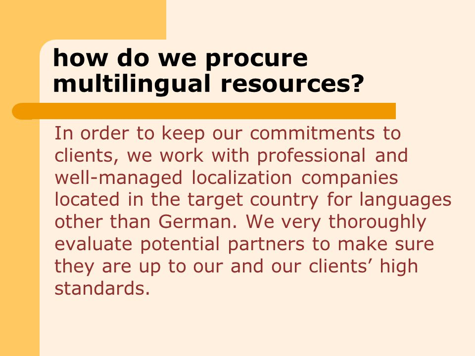 how do we procure multilingual resources.