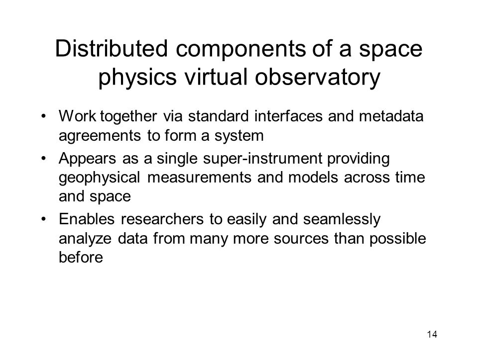 14 Distributed components of a space physics virtual observatory Work together via standard interfaces and metadata agreements to form a system Appear