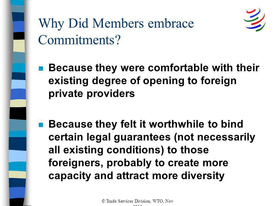 © Trade Services Division, WTO, Nov 2005 Why Did Members embrace Commitments? n Because they were comfortable with their existing degree of opening to