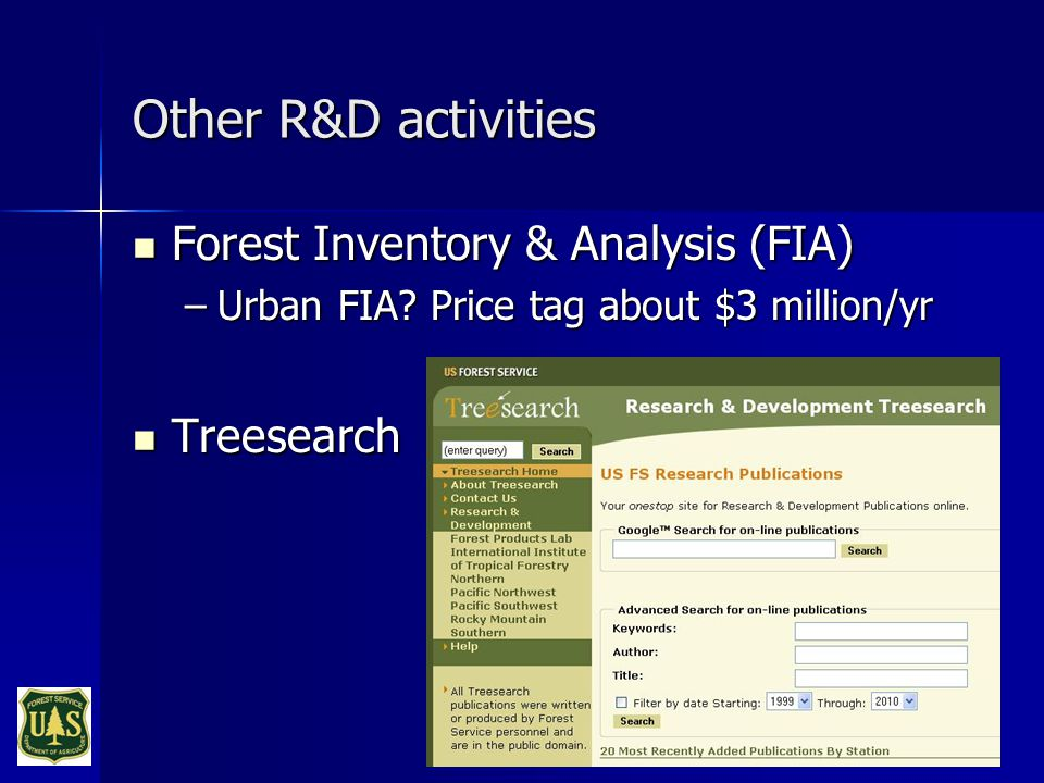Other R&D activities Forest Inventory & Analysis (FIA) Forest Inventory & Analysis (FIA) –Urban FIA.