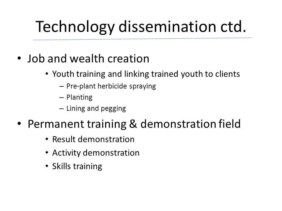 Technology dissemination ctd.