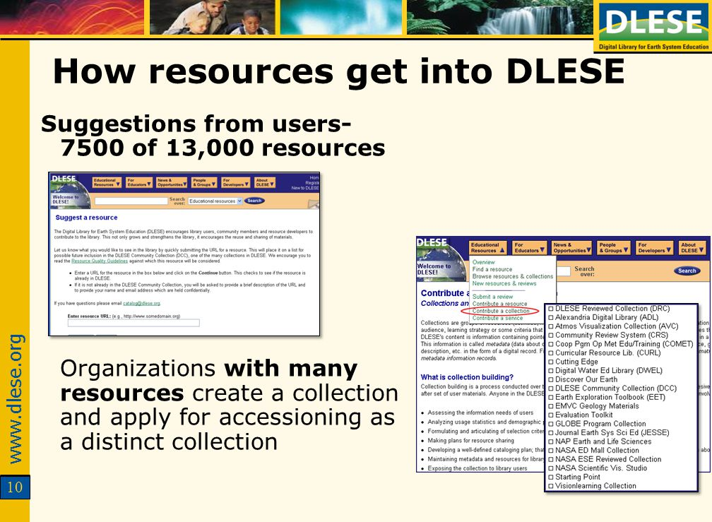 10 How resources get into DLESE Suggestions from users- 7500 of 13,000 resources Organizations with many resources create a collection and apply for a