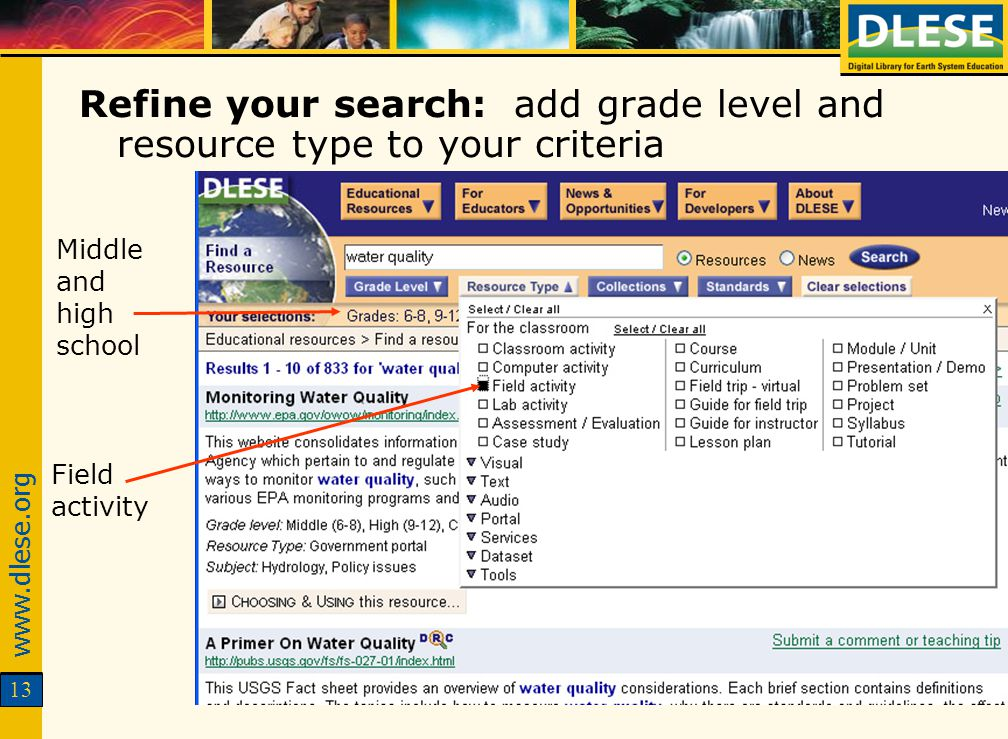 www.dlese.org 13 Refine your search: add grade level and resource type to your criteria Middle and high school Field activity