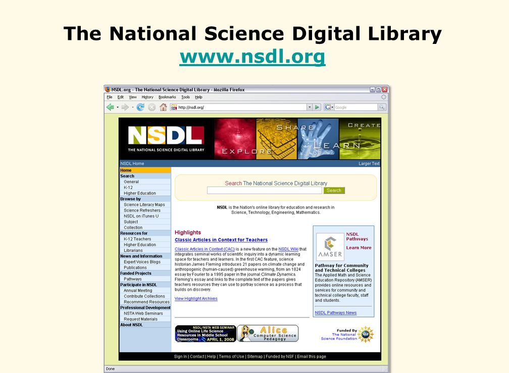 The National Science Digital Library www.nsdl.org www.nsdl.org