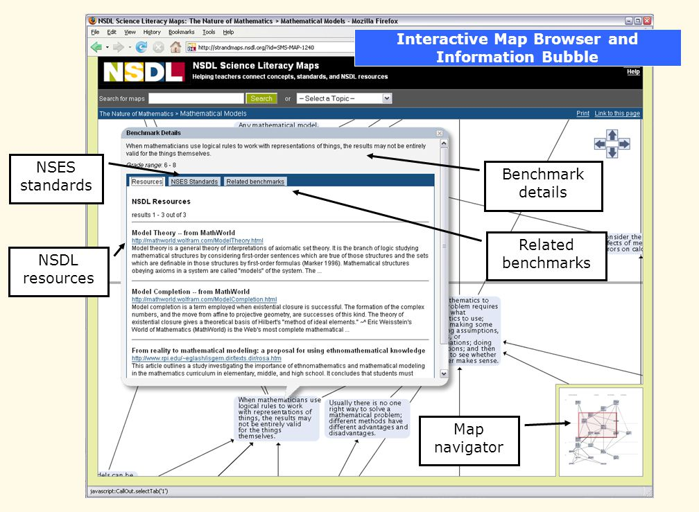 Interactive Map Browser and Information Bubble Benchmark details NSES standards NSDL resources Map navigator Related benchmarks