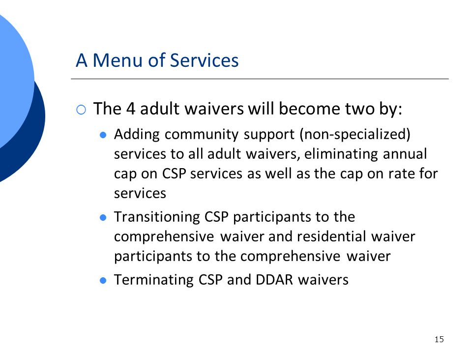 15 A Menu of Services The 4 adult waivers will become two by: Adding community support (non-specialized) services to all adult waivers, eliminating an