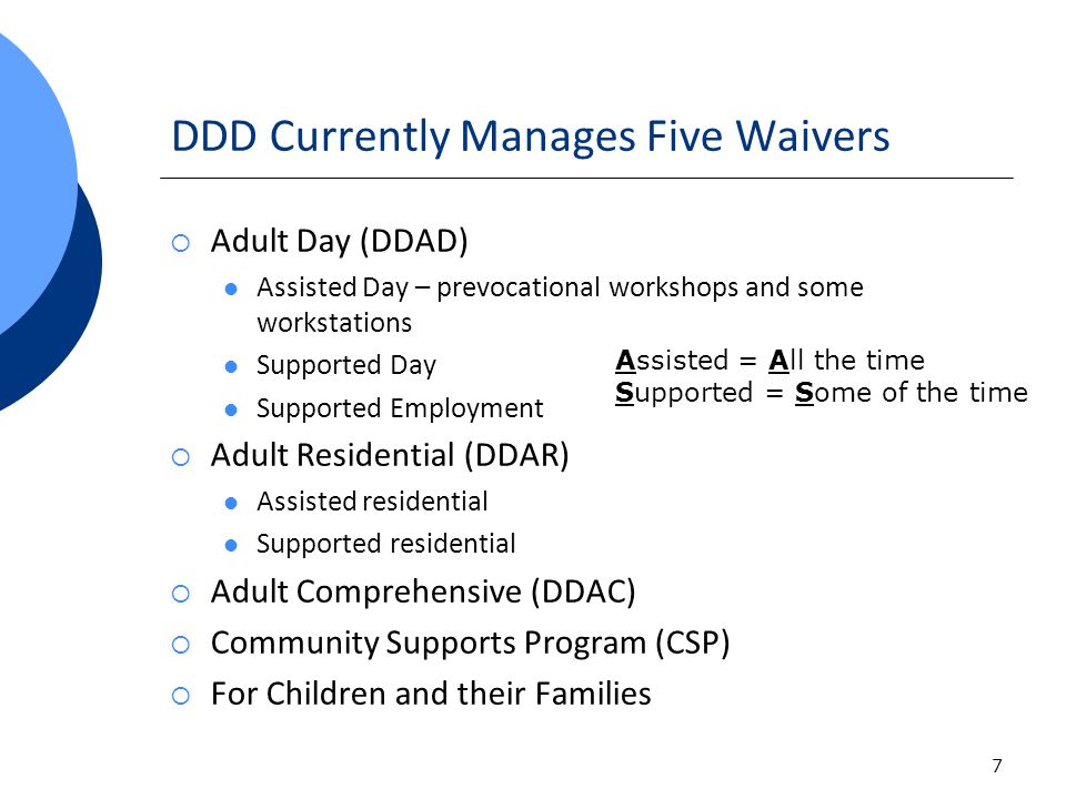 7 DDD Currently Manages Five Waivers Adult Day (DDAD) Assisted Day – prevocational workshops and some workstations Supported Day Supported Employment