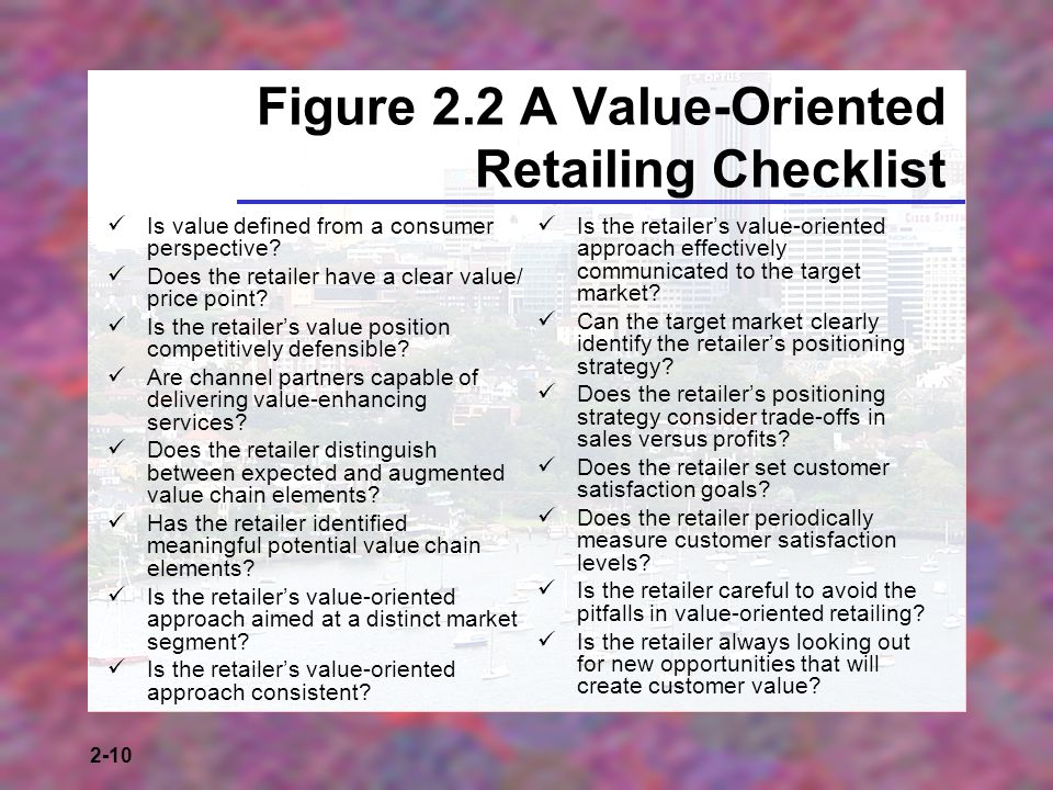 2-10 Figure 2.2 A Value-Oriented Retailing Checklist Is value defined from a consumer perspective.