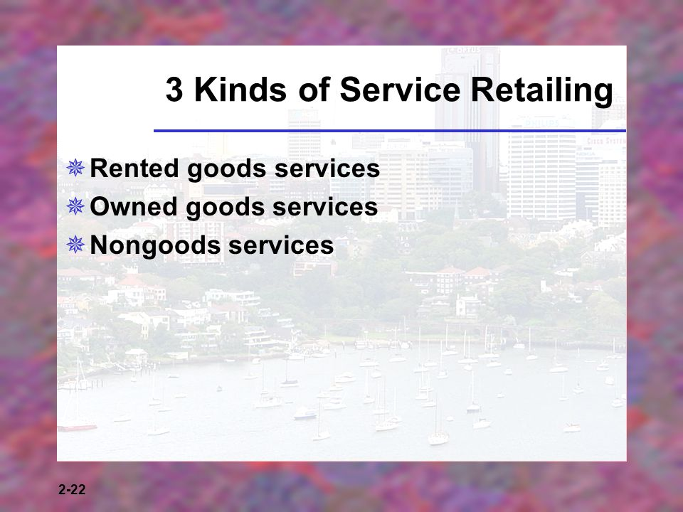2-22 3 Kinds of Service Retailing Rented goods services Owned goods services Nongoods services