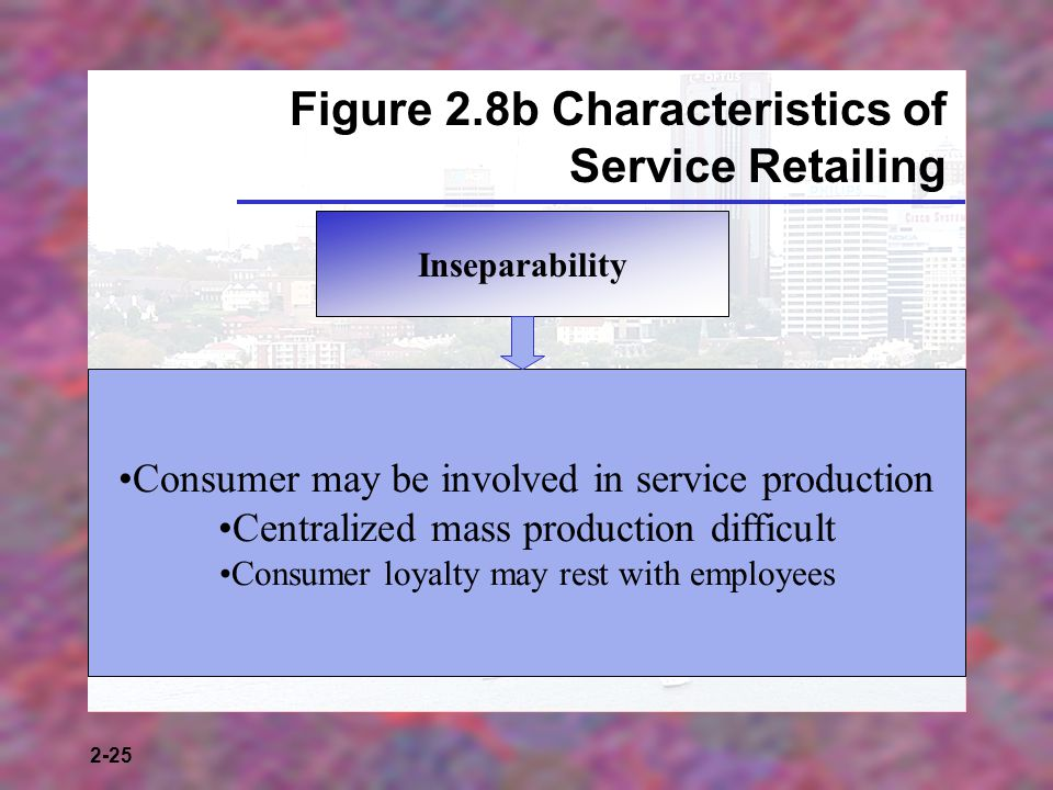 2-25 Figure 2.8b Characteristics of Service Retailing Inseparability Consumer may be involved in service production Centralized mass production difficult Consumer loyalty may rest with employees