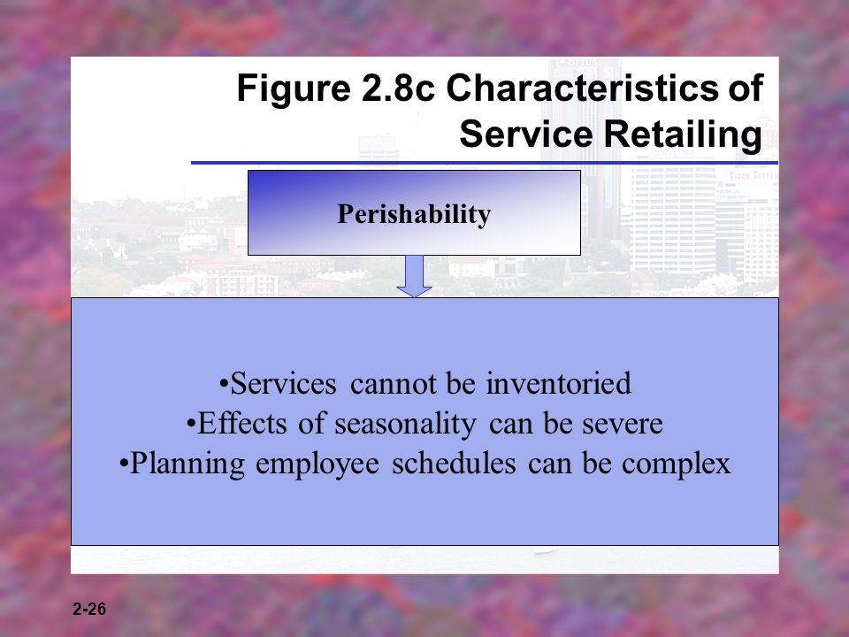 2-26 Figure 2.8c Characteristics of Service Retailing Perishability Services cannot be inventoried Effects of seasonality can be severe Planning employee schedules can be complex