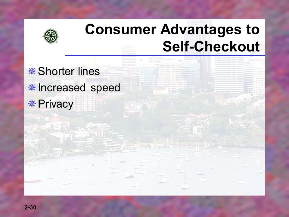 2-30 Consumer Advantages to Self-Checkout Shorter lines Increased speed Privacy