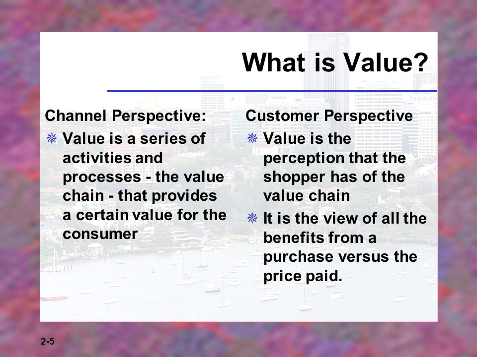 2-5 What is Value? Channel Perspective: Value is a series of activities and processes - the value chain - that provides a certain value for the consum