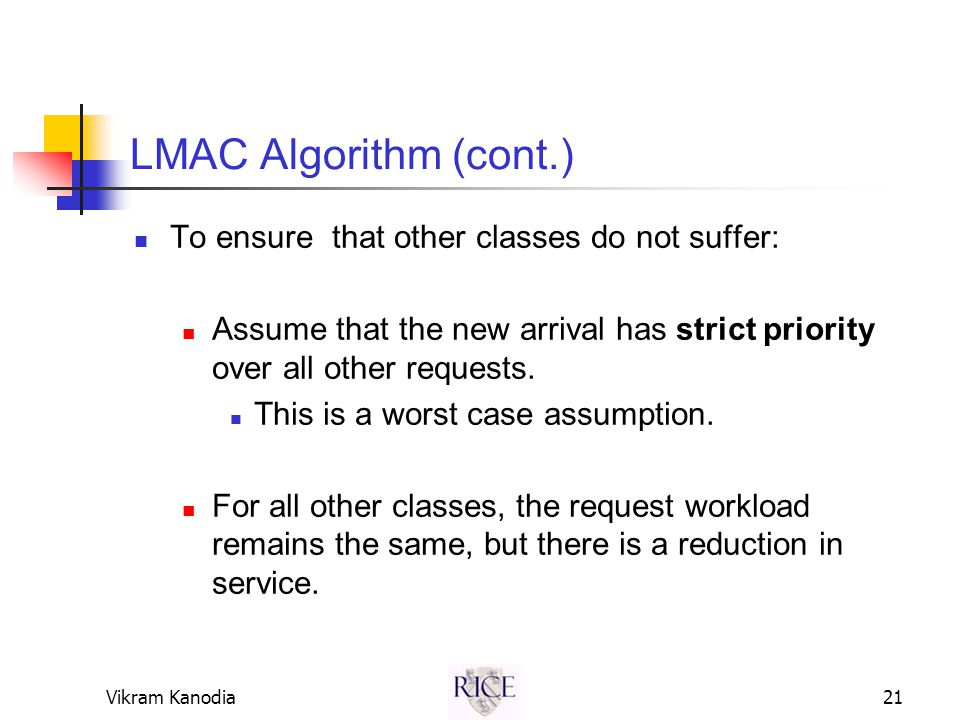 Vikram Kanodia21 LMAC Algorithm (cont.) To ensure that other classes do not suffer: Assume that the new arrival has strict priority over all other requests.