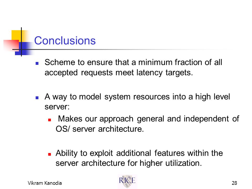 Vikram Kanodia28 Conclusions Scheme to ensure that a minimum fraction of all accepted requests meet latency targets.