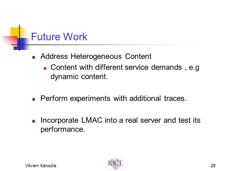 Vikram Kanodia29 Future Work Address Heterogeneous Content Content with different service demands, e.g dynamic content.