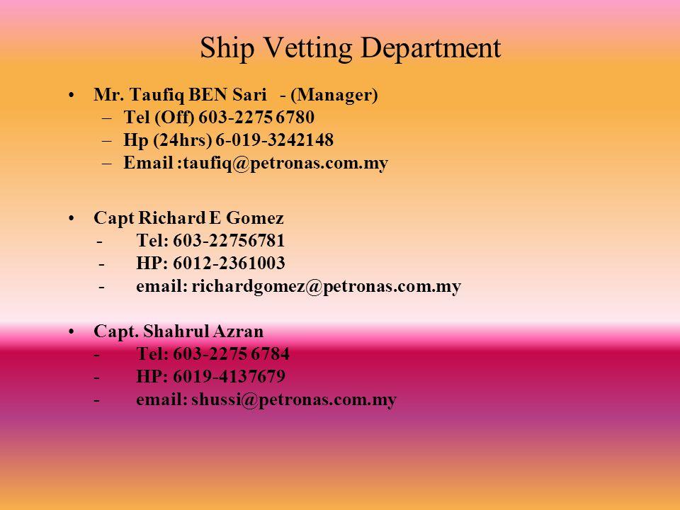 Ship Vetting Department Mr.